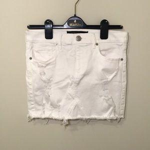 Mid Rise White Distressed Denim Mini Skirt